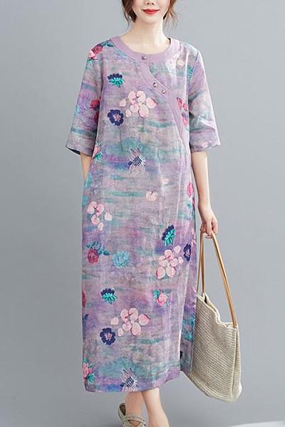 棉麻洋裝 2021年新款棉麻女裝夏季連身裙女顯瘦洋氣質媽媽今年流行紫色裙子 嬡孕哺