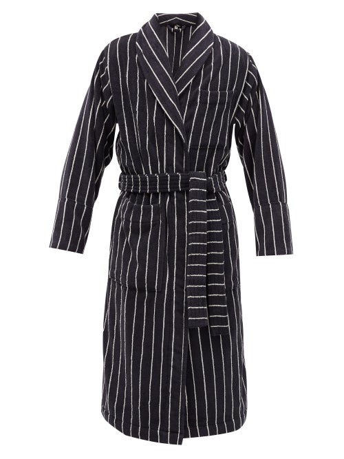 Tekla - Striped Organic-cotton Terry Bathrobe - Mens - Black