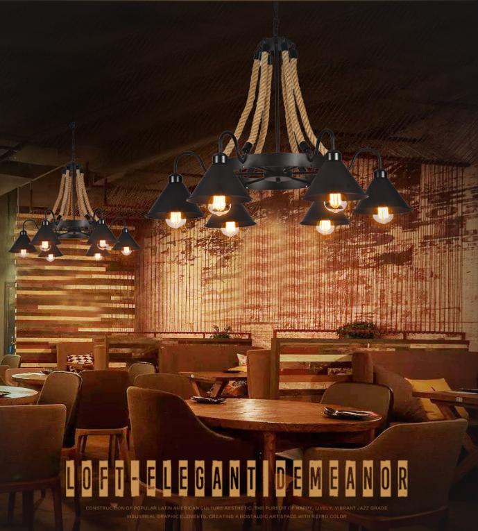 6頭 燈 燈具 吊燈 110v loft美式燈具麻繩吊燈鐵藝復古懷舊工業風飯店餐廳餐館包廂火鍋店燈具