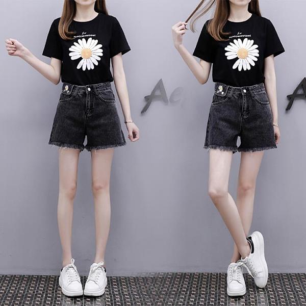短袖套裝女S-3XL新款韓版夏季學生印花短袖T恤 牛仔短褲兩件套DC251B依佳衣