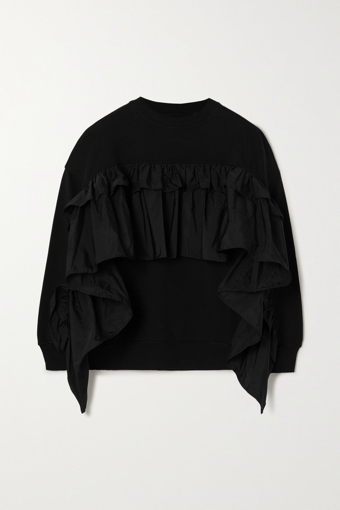 REDVALENTINO - 荷叶边塔夫绸边饰棉质混纺平纹布卫衣 - 黑色 - medium