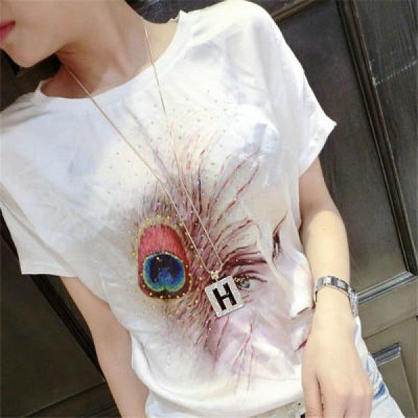 韓版短袖T恤女鑲鉆修身顯瘦圓領上衣印花短袖T恤女901#FFA046紅粉佳人