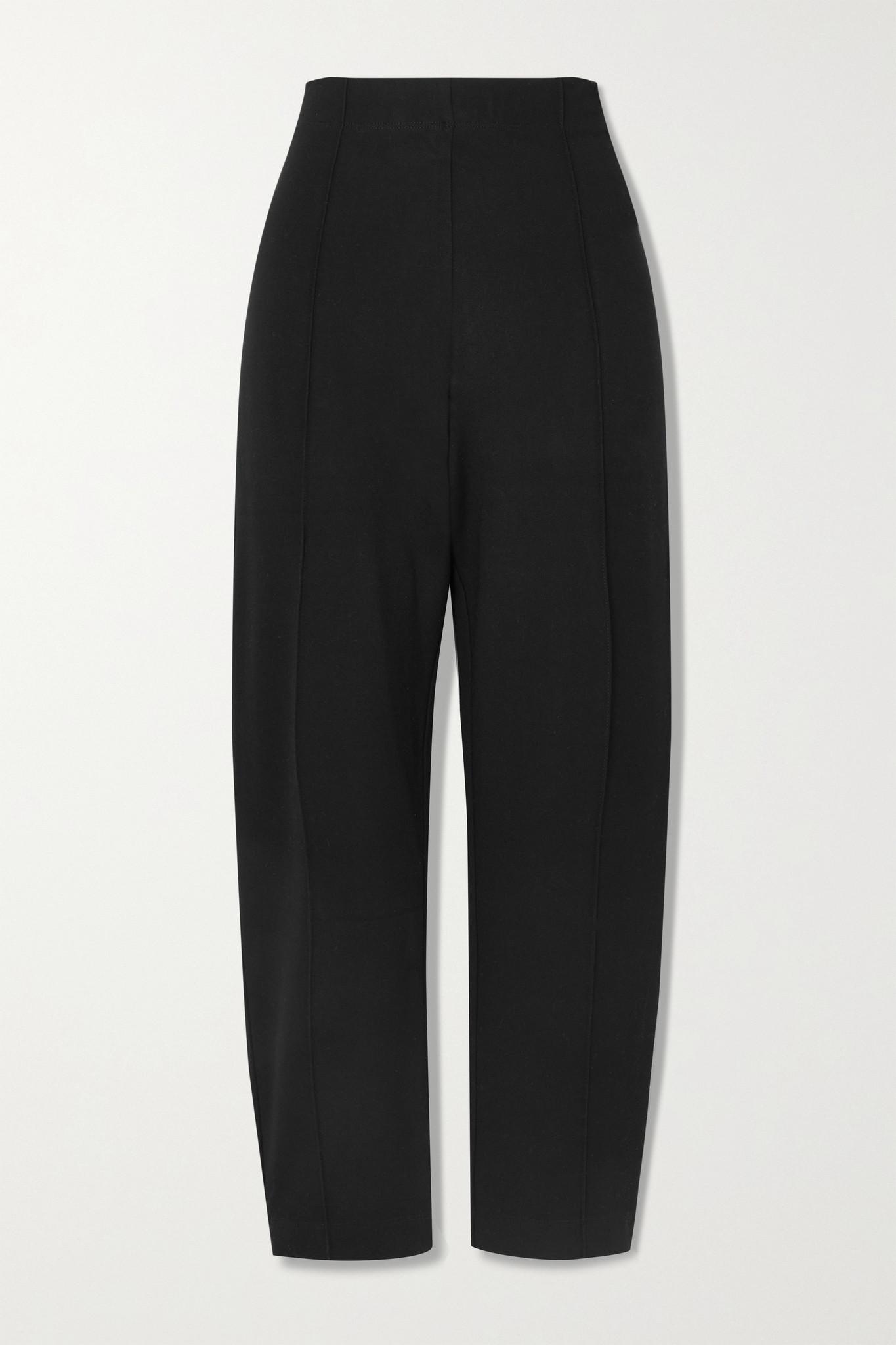 LESET - Rio Cropped Straight-leg Stretch-ponte Pants - Black - medium