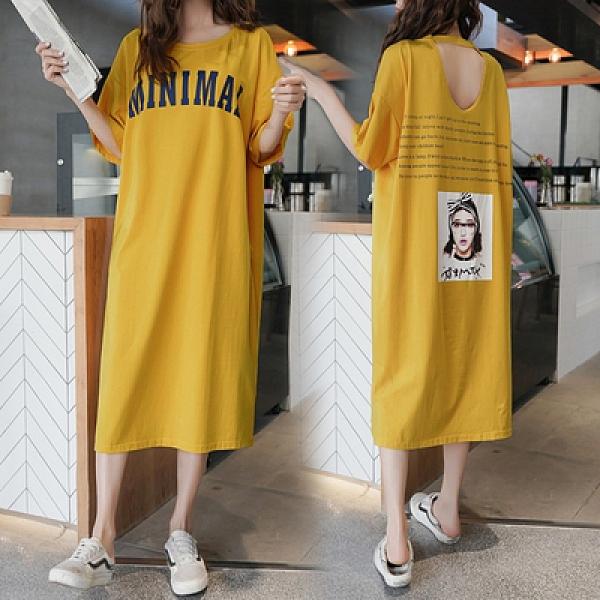 圓領中長版T恤裙洋裝M-5XL8018韓版寬松印花字母學生上衣短袖T恤連身裙2F124.韓依紡