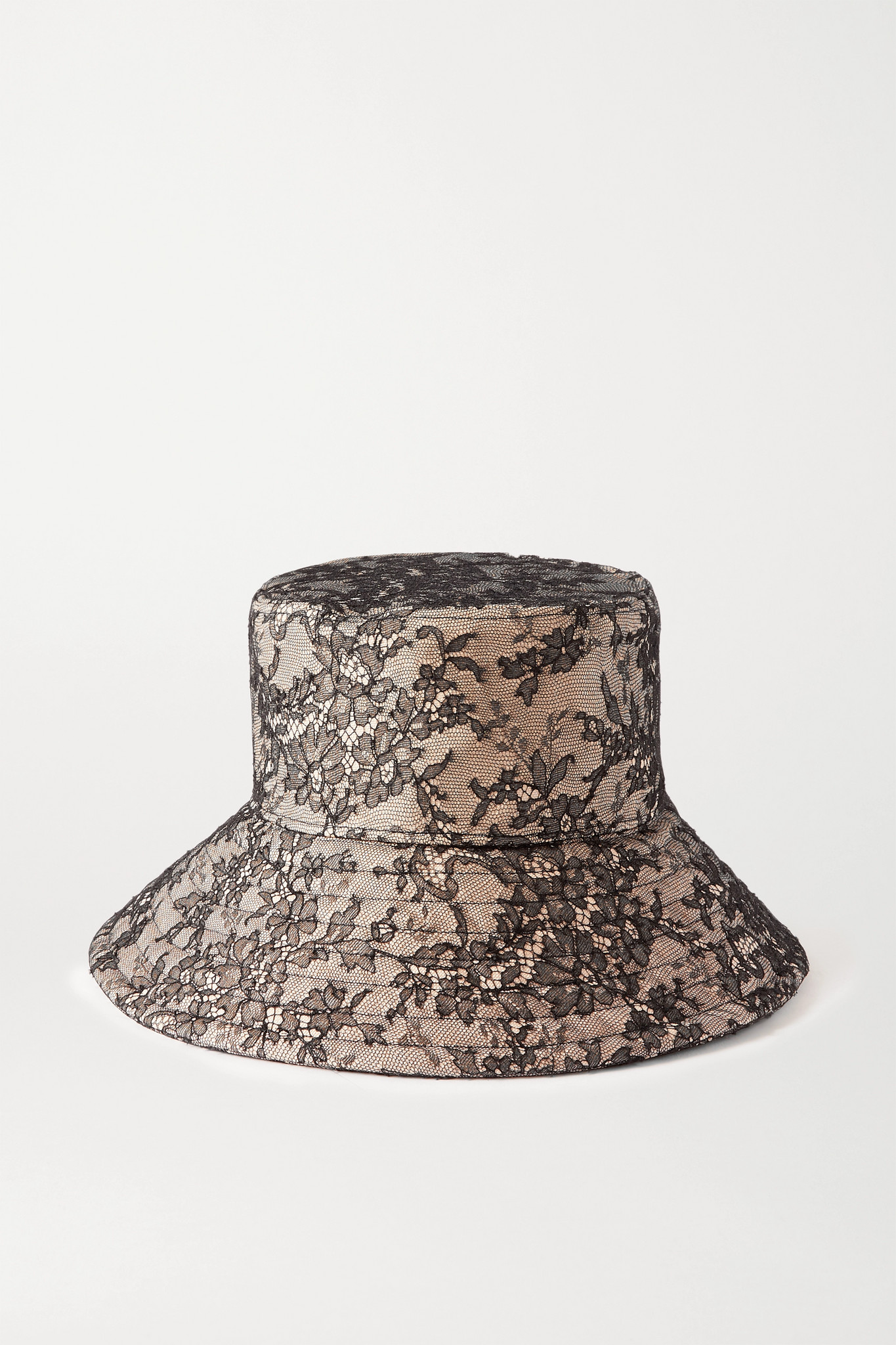 VALENTINO - Lace And Canvas Bucket Hat - Neutrals - M