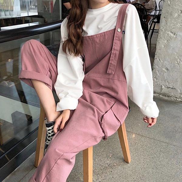 新款夏工裝直筒背帶顯瘦寬鬆休閒韓風口袋減齡寬鬆吊帶連體長褲女 快速出貨