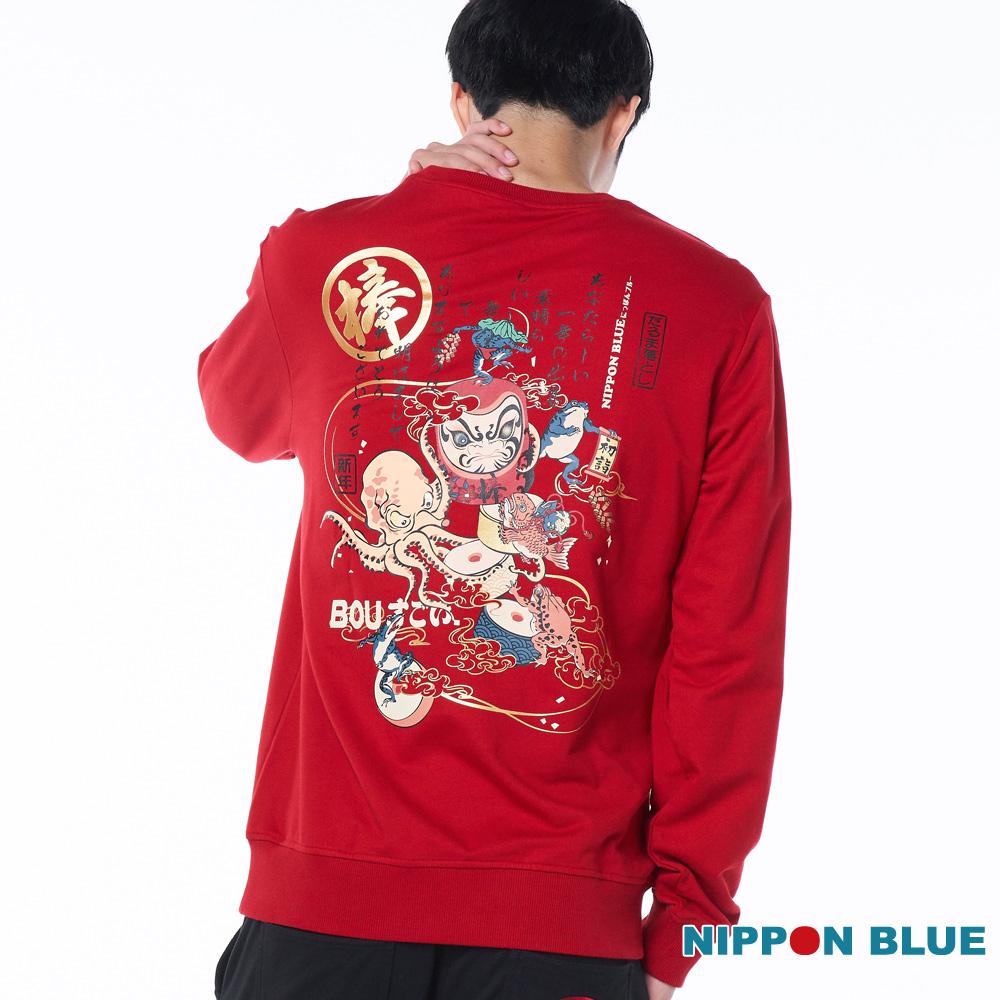 【春季新品↘9折】賀年狀打達摩圓領長TEE(紅) - BLUE WAY 日本藍