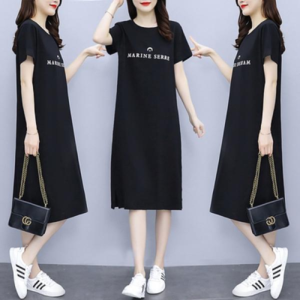 大碼洋裝XL-5XL夏裝新款大碼女裝胖mm寬松顯瘦印花連身裙4F088韓衣裳
