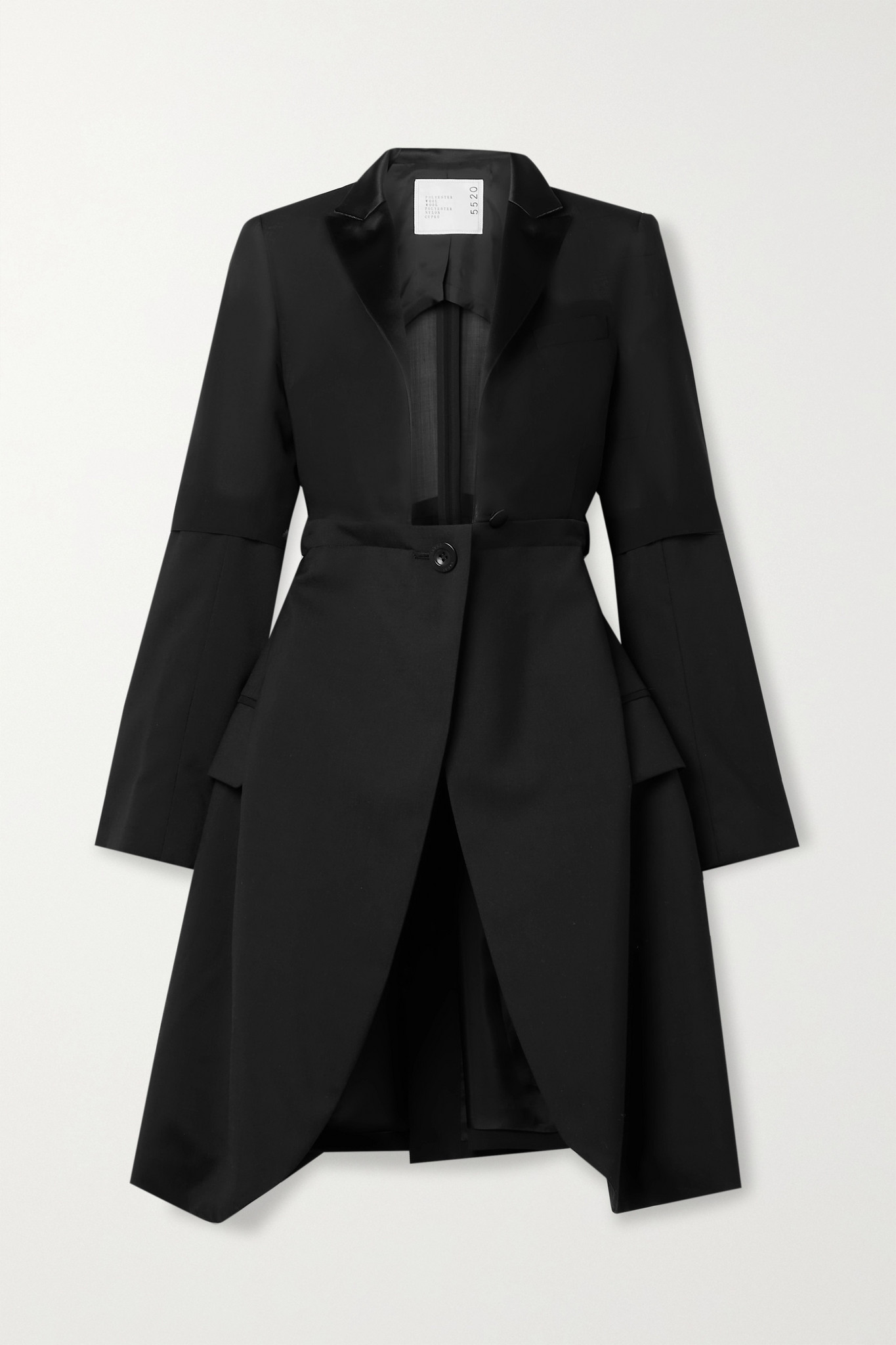 SACAI - Satin-trimmed Paneled Woven And Voile Jacket - Black - 1