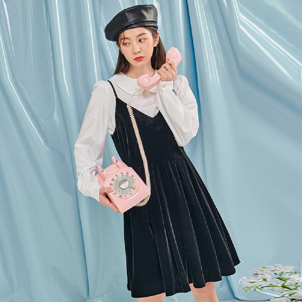 套裝 絲絨質感雪紡衫洋裝套裝MX10274-創翊韓都