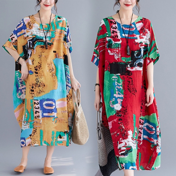 印花洋裝長版寬鬆中大尺碼夏季新款韓版文藝大碼寬松顯瘦印花短袖裙子MC062.胖丫