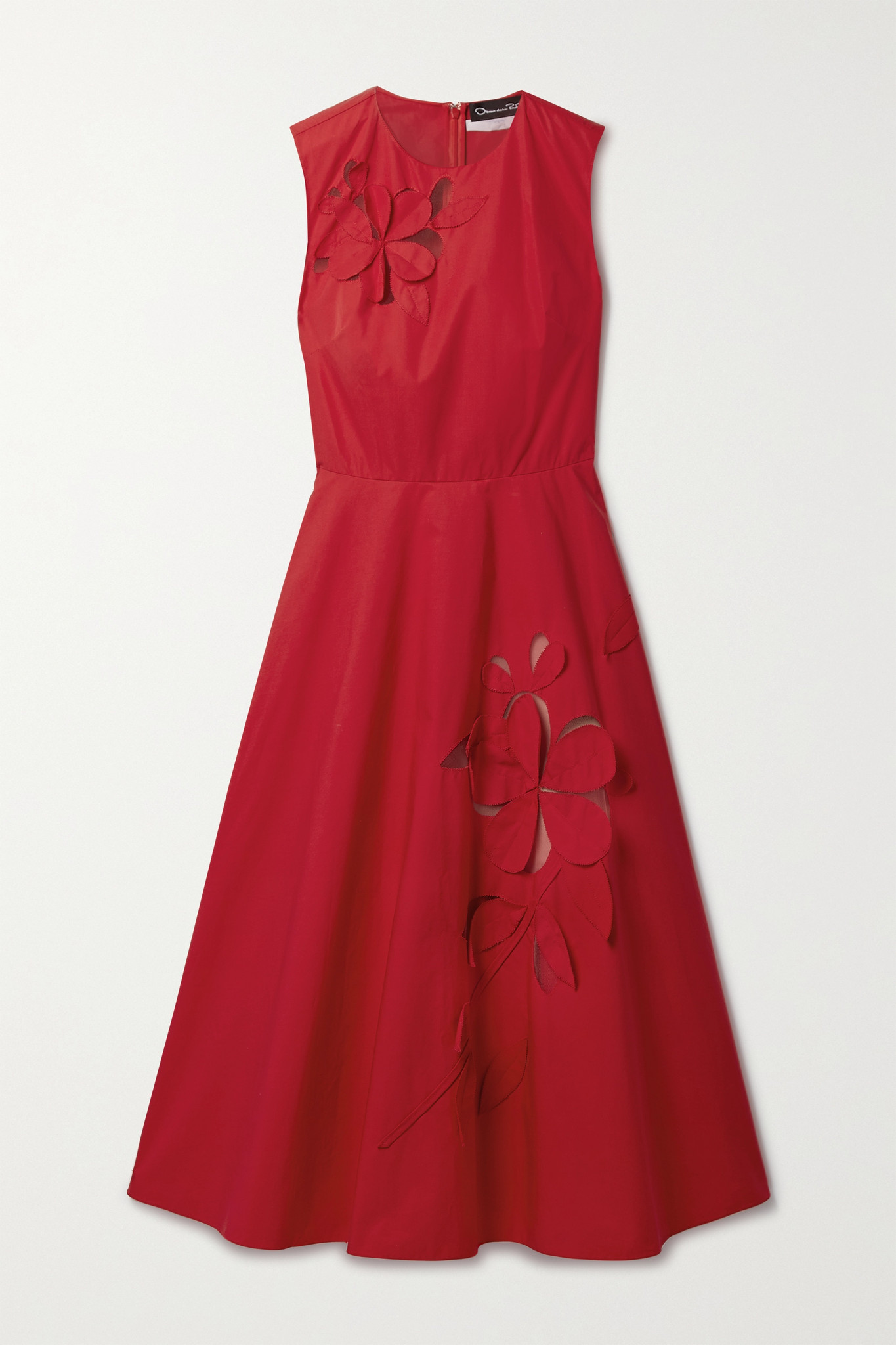 OSCAR DE LA RENTA - Appliquéd Tulle-paneled Cotton-blend Poplin Midi Dress - Red - US4