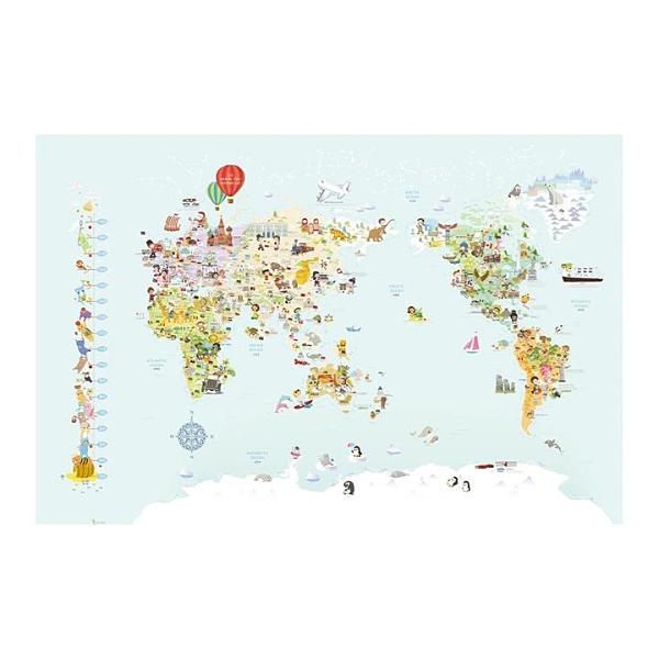 U2 韓國世界地圖水貼自黏壁紙7入-兒童Q版