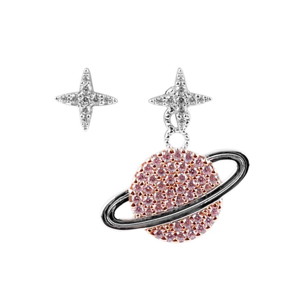 apm MONACO Wonderland系列不對稱星星與星球耳環(銀色/粉色) AE10559XORW