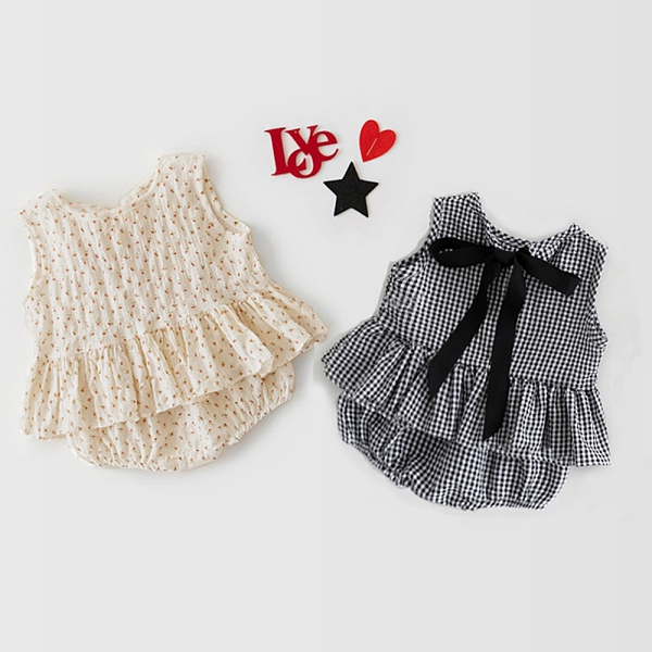 背後綁帶蝴蝶結背心上衣+屁屁褲 兩件套 套裝 童裝 小童 女童 嬰兒 新生兒 橘魔法 現貨