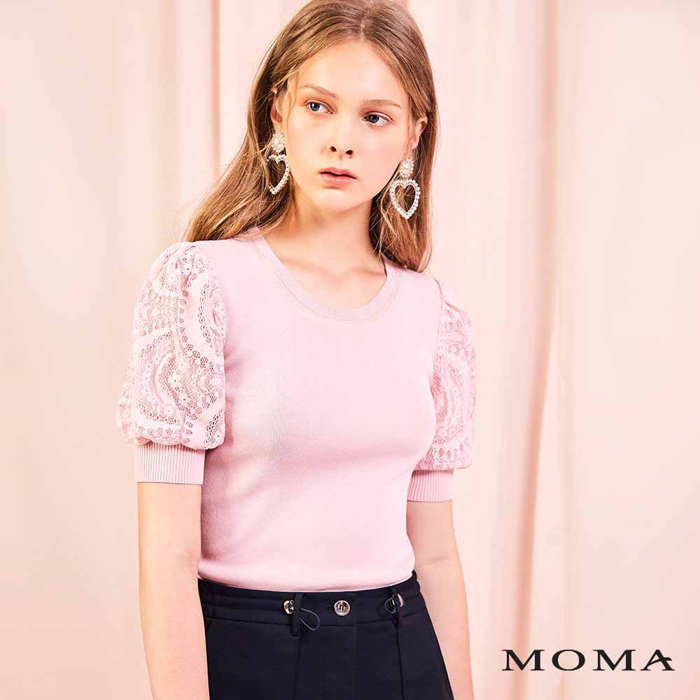 MOMA(01KM46)蕾絲泡袖針織上衣
