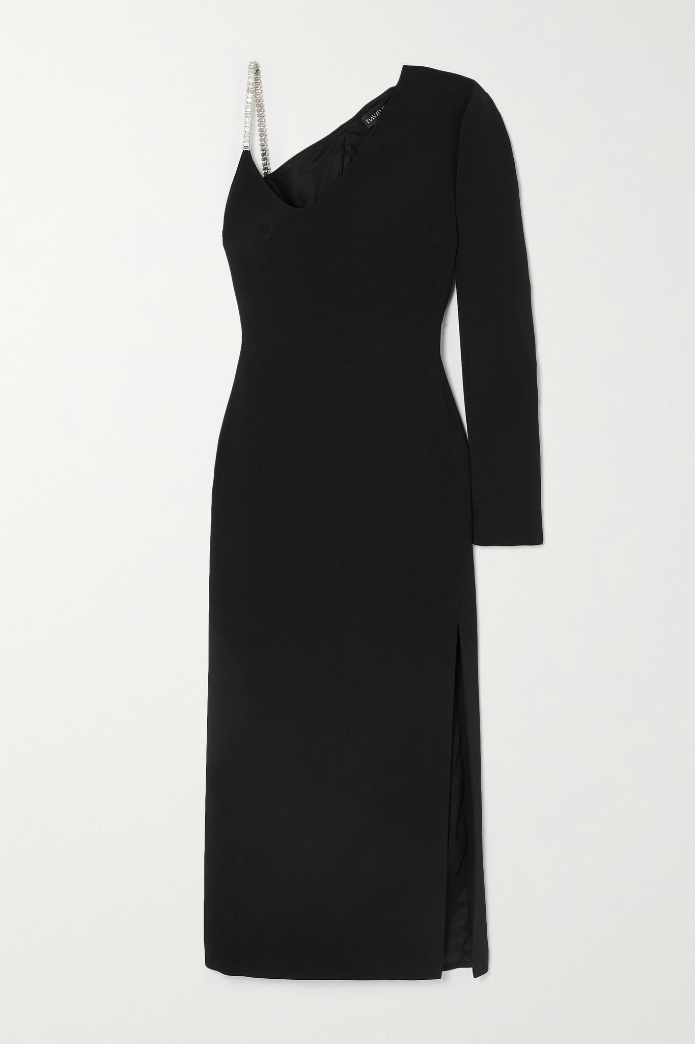 DAVID KOMA - One-sleeve Crystal-embellished Cady Midi Dress - Black - UK10