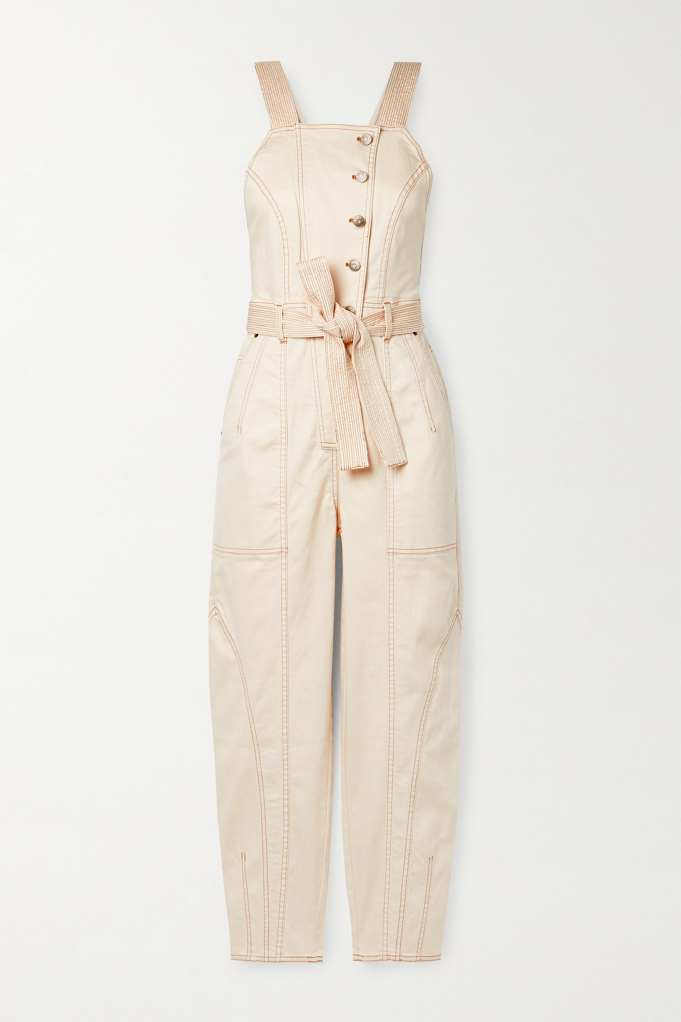 ULLA JOHNSON - Archer Belted Denim Jumpsuit - Ecru - US4