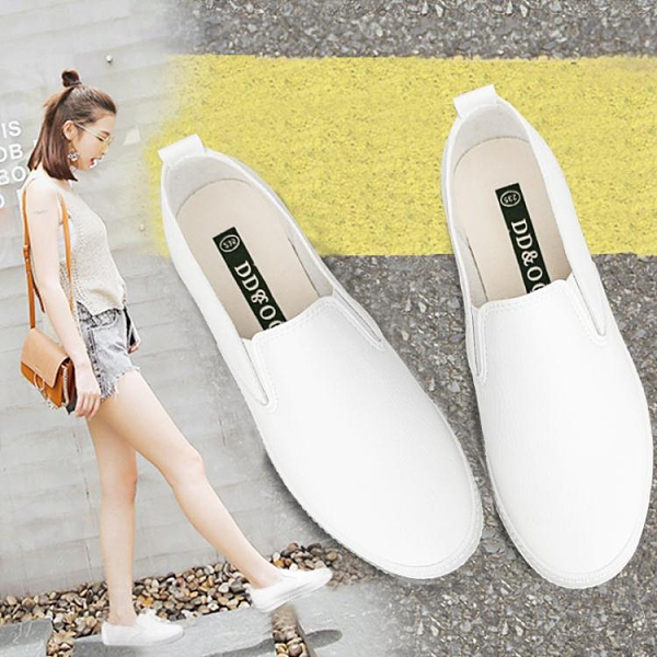 2021年春夏季新款透氣小白鞋女鞋一腳蹬懶人板鞋百搭平底休閒白鞋 青木鋪子