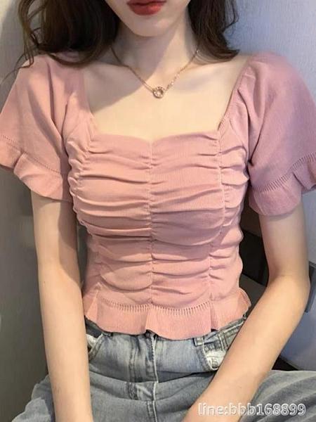 泡泡袖上衣 年溫柔風法式泡泡袖短款方領上衣心機設計感小眾輕熟襯衫女夏 城市科技