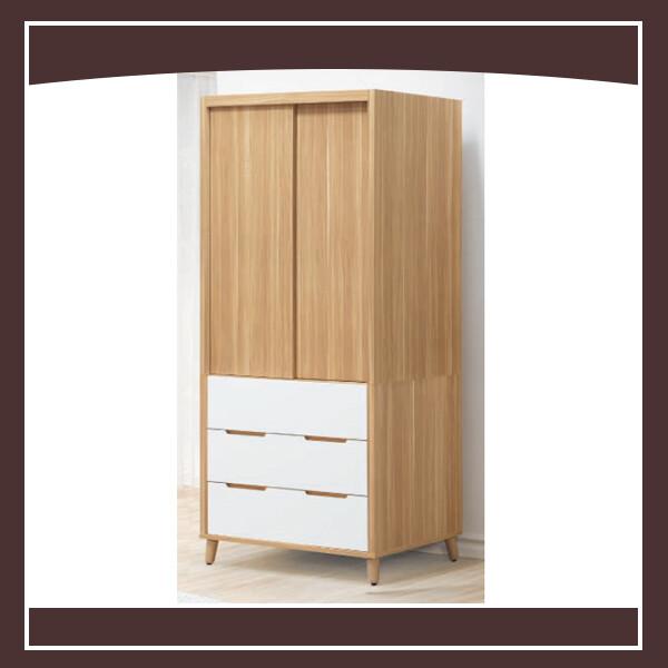 肯詩特烤白雙色37尺推門衣櫥 21058200001