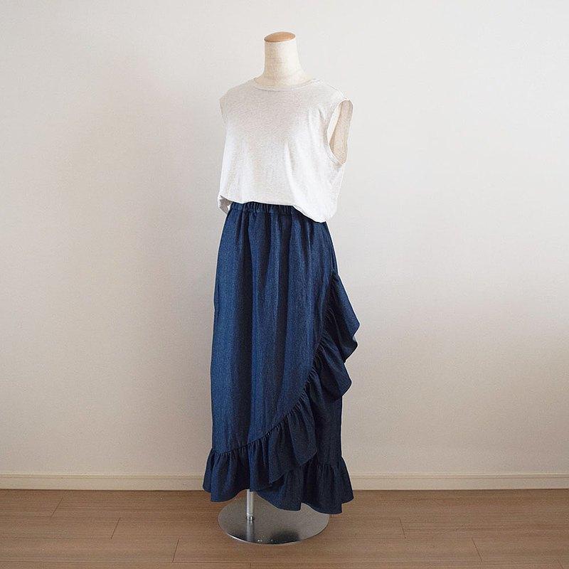 牛仔布交叉褶邊長裙深藍色定做