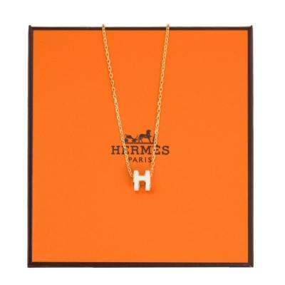 HERMES mini POP H 項鍊 (白色 x 金鍊) Blanc