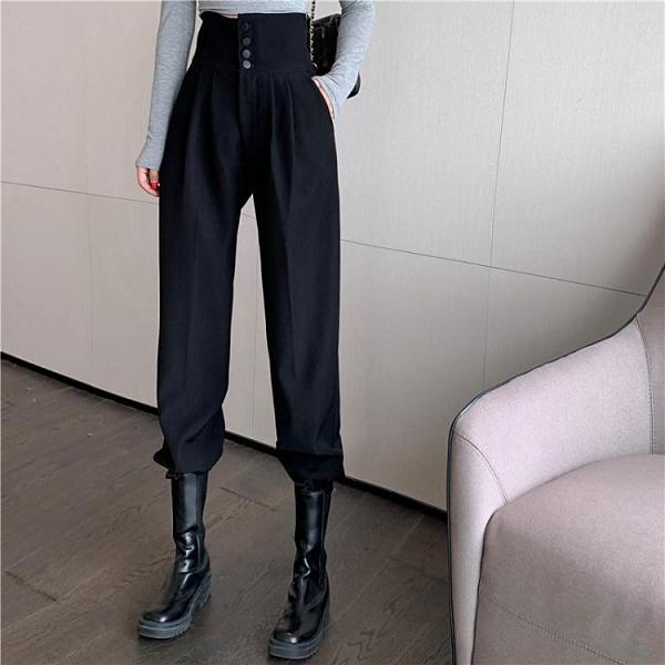工裝褲女顯瘦高腰西裝褲2021年春款新款休閒褲哈倫褲黑色束腳褲子 伊蘿