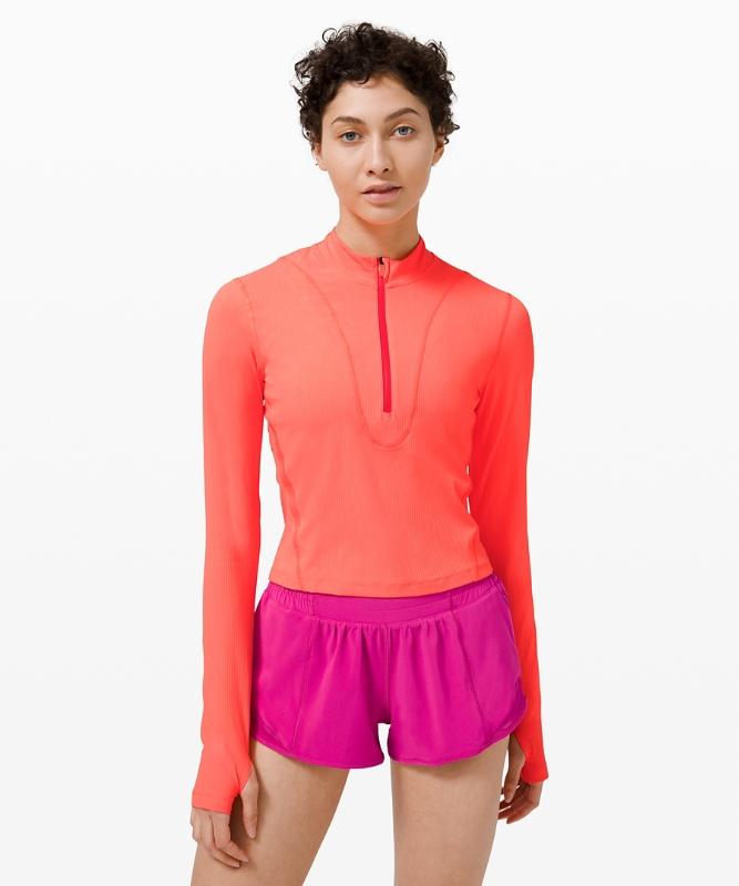 Lululemon Women's Gloss Trim Run 1/2 Zip Long Sleeve, Sunset Size 6