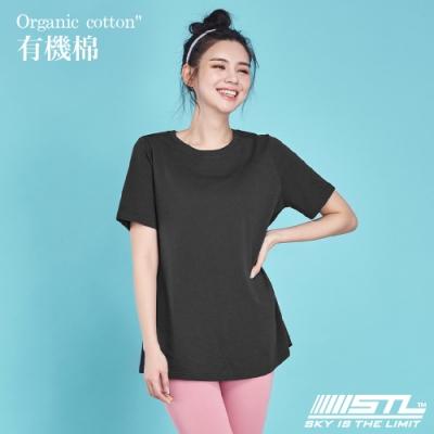 STL Yoga 韓國 Organic有機棉 Overfit SS 長版短袖寬版T恤 黑色Black