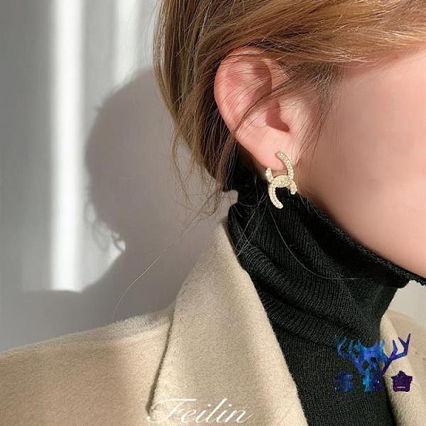 珍珠耳飾女銀耳環氣質網美高級感大氣小香風耳釘【古怪舍】
