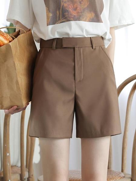 低調棕 好搭大地色高腰西裝短褲女直筒寬鬆四分褲顯痩熱褲休閒夏 果果輕時尚