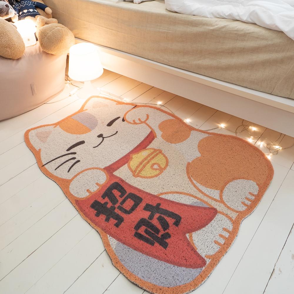 大型招財貓地墊 約75X100cm±1cm【棉床本舖】