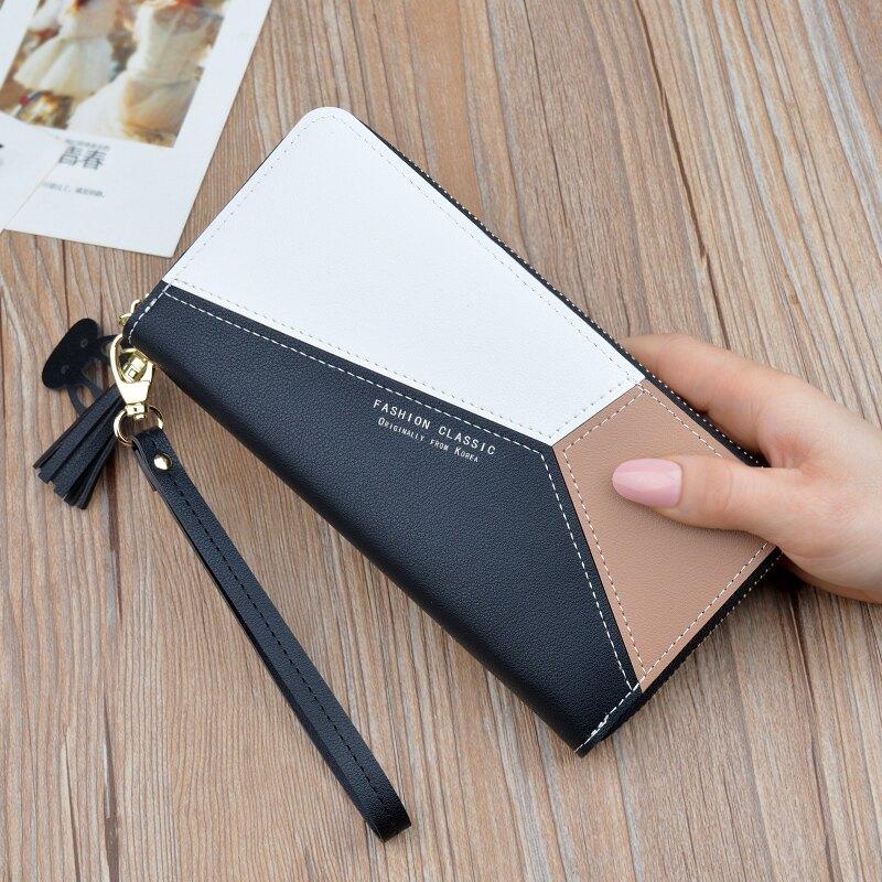 長皮夾(女)女士手拿錢包女長款三色拼接撞色氣質簡約拉鏈手機包學生錢夾皮夾【XXL4487】