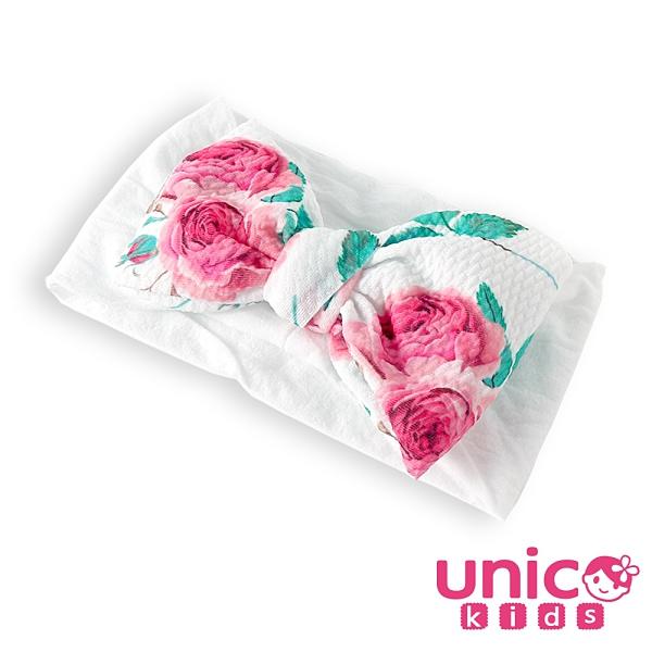 UNICO 兒童 印花款超大蝴蝶結柔軟親膚寬髮帶/髮飾