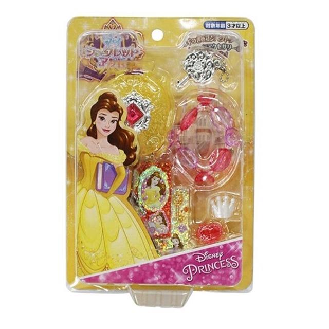 小禮堂 迪士尼 貝兒公主 飾品玩具組 附貼紙 化妝玩具 首飾玩具 扮家家酒 (黃 禮服)