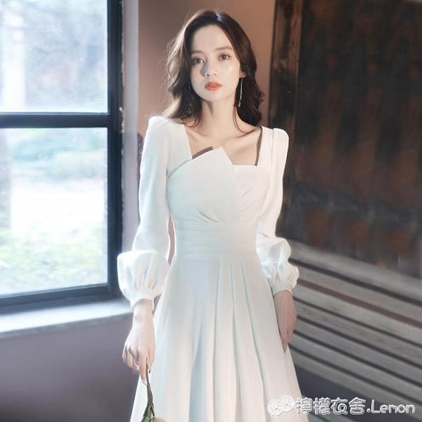 晚禮服裙白色女新款氣質輕奢小眾平時可穿裙子高端主持人年會宴會 檸檬衣舍