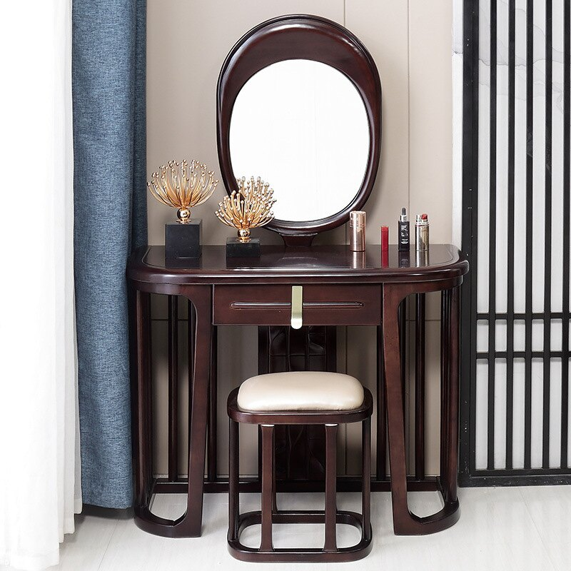新中式梳妝臺臥室實木化妝臺妝鏡儲物收納桌禪意輕奢小戶型妝臺