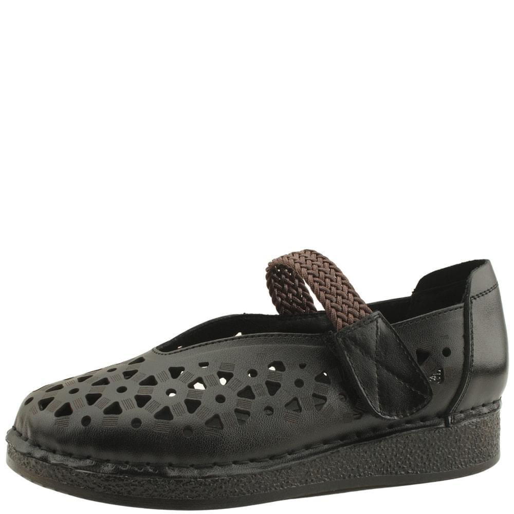 韓國空運 - Cowhide Flower Punching Comfort Shoes Black 樂福鞋