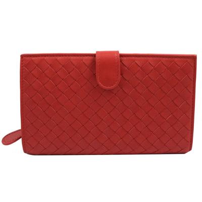BOTTEGA VENETA 純手工小羊皮編織扣式零錢中長夾.紅