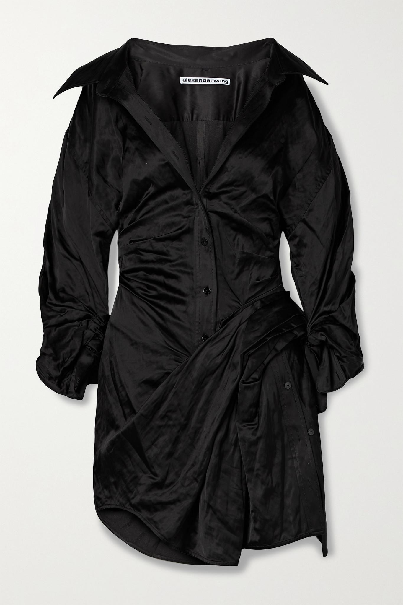 ALEXANDER WANG - 褶饰皱褶缎布迷你衬衫式连衣裙 - 黑色 - US4