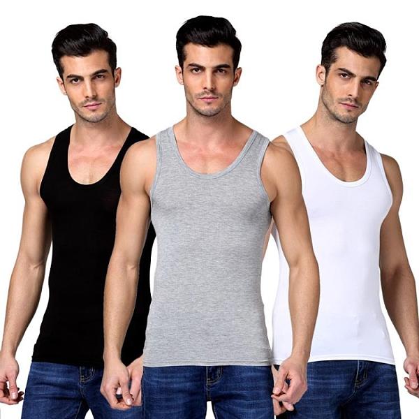 2件裝 男士背心純棉運動潮牌白跨欄修身型大碼無袖t恤青年夏季打底健身