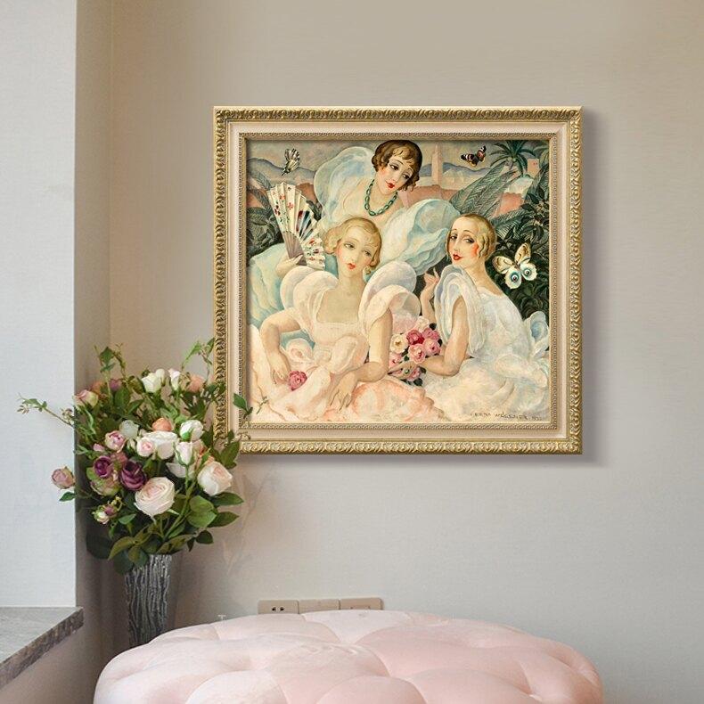 西式複古裝飾畫牆面 樣板間民宿臥室鏈條挂畫壁畫