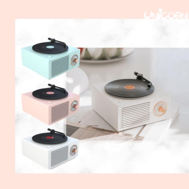-三色-黑膠唱片機造型藍芽音響 充電式 藍芽喇叭 音箱 桌上型音響 聽音樂【AS1091117】Unicorn