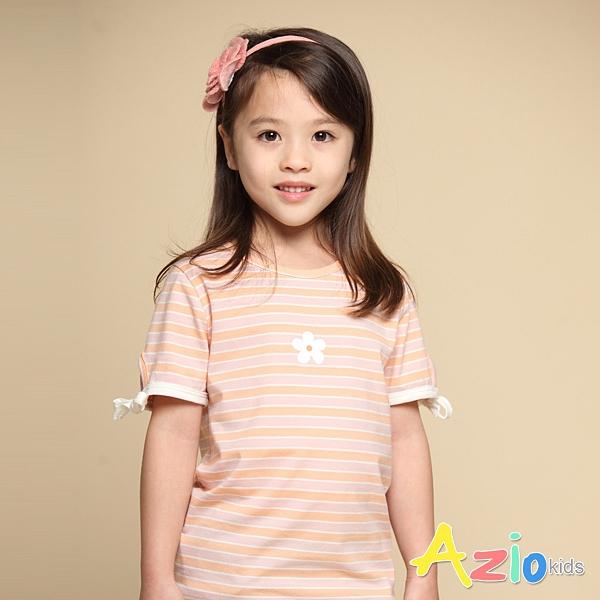 Azio 女童 上衣 小白花印花袖口綁帶蝴蝶結條紋短袖上衣T恤(粉) Azio Kids 美國派 童裝