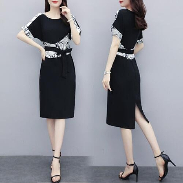 洋裝圓領裙子中大尺碼L-5XL胖妹妹時尚優雅氣質寬鬆顯瘦連身裙R026-6206.皇潮天下