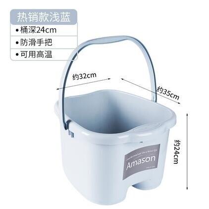泡腳桶家用過小腿塑料加大高深桶帶蓋按【薇格嚴選】