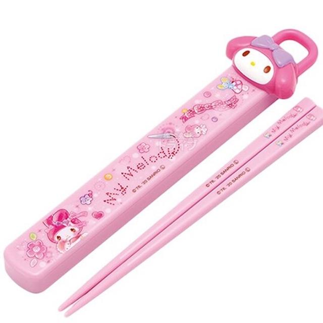 小禮堂 美樂蒂 塑膠筷 附盒 美耐皿筷 兒童筷 環保筷 筷子 18cm (粉 大臉)