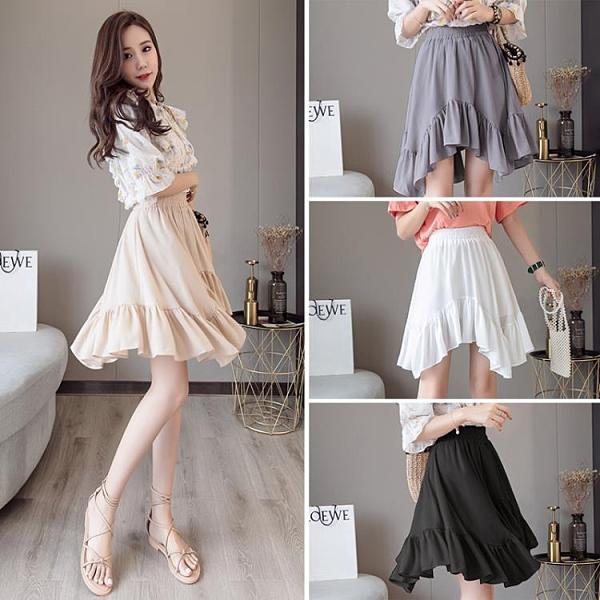 2021新款韓版顯瘦不規則荷葉邊雪紡半身裙百褶蓬蓬短裙學生A字裙