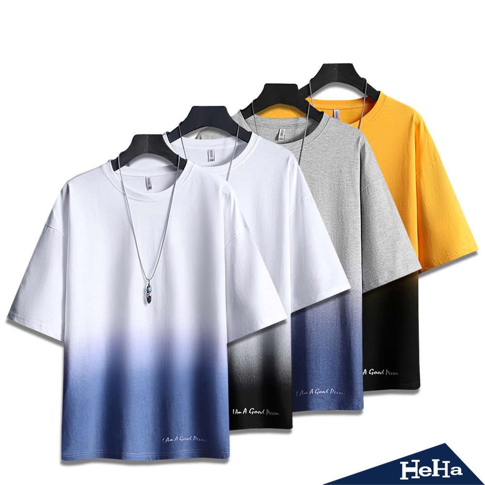 【HeHa】雙色漸層配色短袖上衣 四色